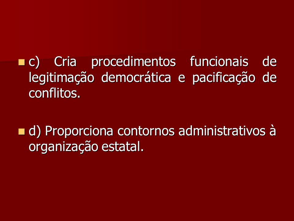  c) Cria procedimentos funcionais de legitimação democrática e pacificação de conflitos.  d) Proporciona contornos administrativos à organização est