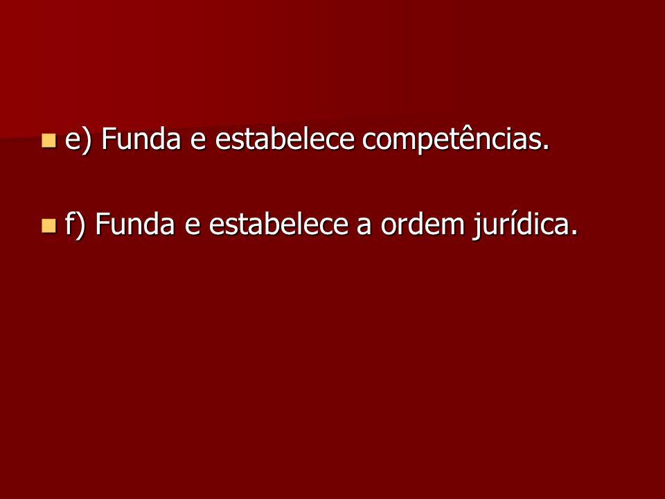  e) Funda e estabelece competências.  f) Funda e estabelece a ordem jurídica.
