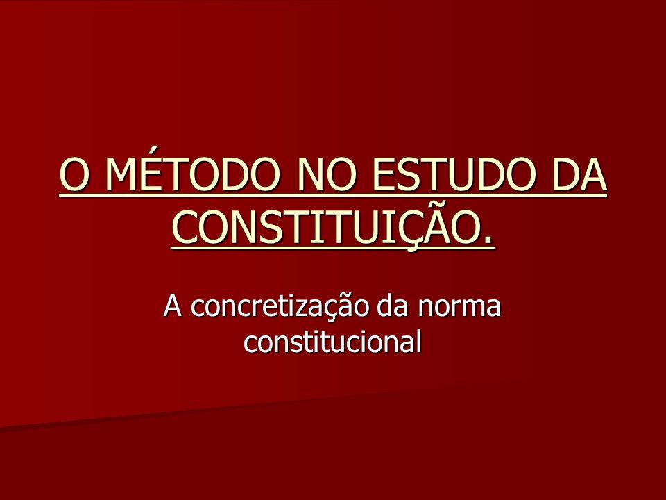 O MÉTODO NO ESTUDO DA CONSTITUIÇÃO. A concretização da norma constitucional