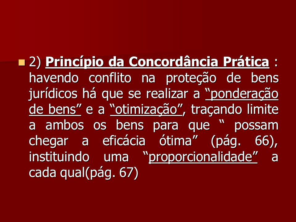 """ 2) Princípio da Concordância Prática : havendo conflito na proteção de bens jurídicos há que se realizar a """"ponderação de bens"""" e a """"otimização"""", tr"""