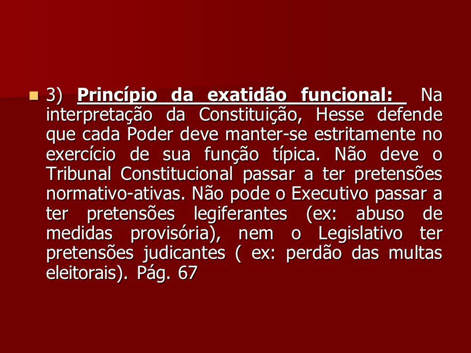  3) Princípio da exatidão funcional: Na interpretação da Constituição, Hesse defende que cada Poder deve manter-se estritamente no exercício de sua f