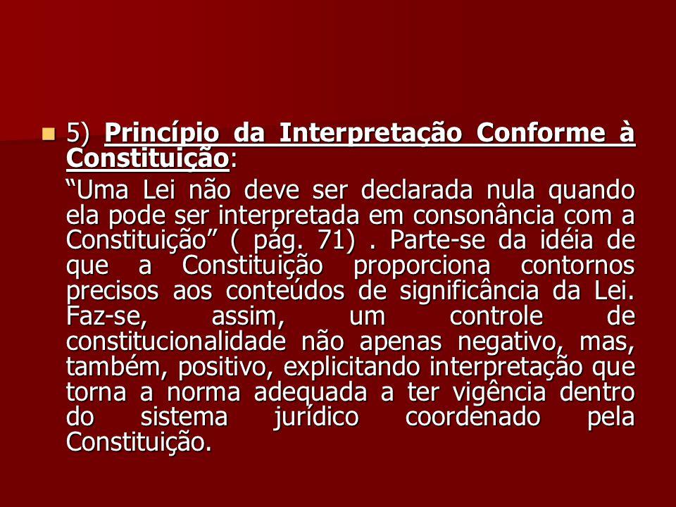 """ 5) Princípio da Interpretação Conforme à Constituição: """"Uma Lei não deve ser declarada nula quando ela pode ser interpretada em consonância com a Co"""