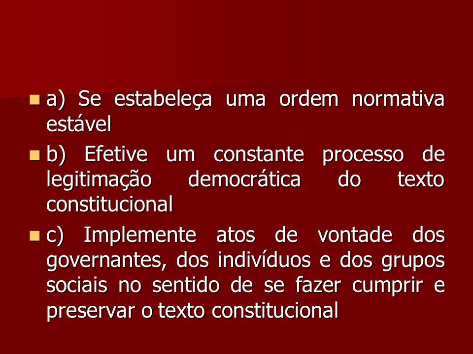  a) Se estabeleça uma ordem normativa estável  b) Efetive um constante processo de legitimação democrática do texto constitucional  c) Implemente a