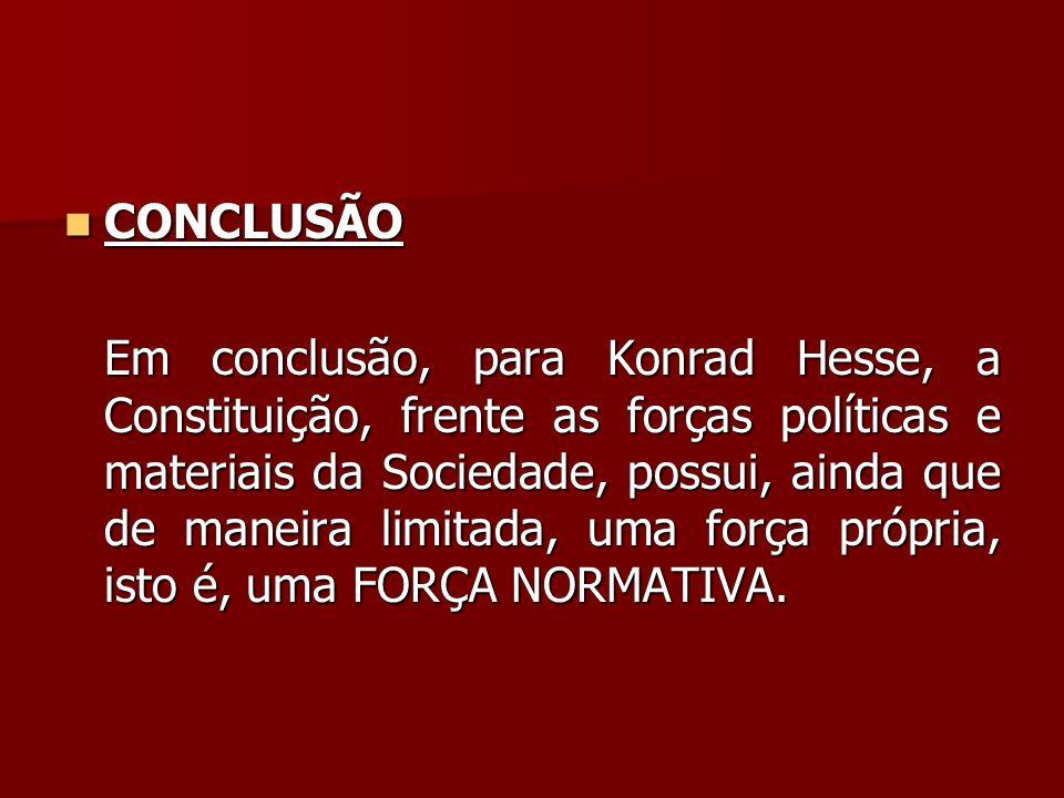  CONCLUSÃO Em conclusão, para Konrad Hesse, a Constituição, frente as forças políticas e materiais da Sociedade, possui, ainda que de maneira limitad