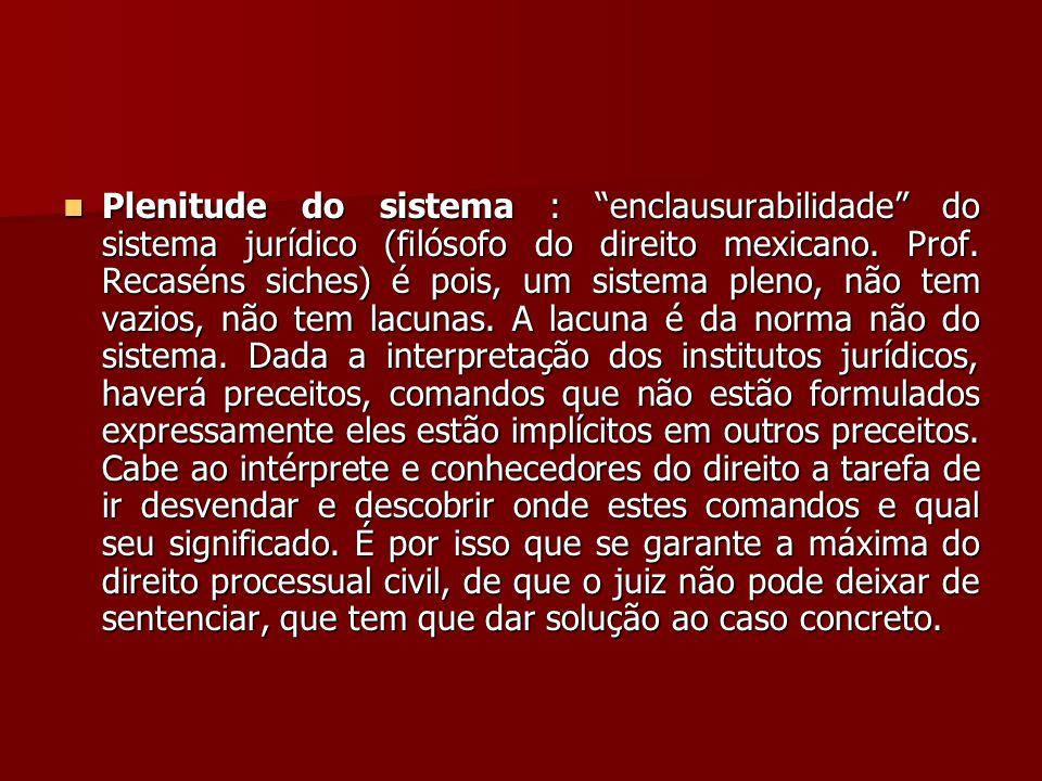 """ Plenitude do sistema : """"enclausurabilidade"""" do sistema jurídico (filósofo do direito mexicano. Prof. Recaséns siches) é pois, um sistema pleno, não"""