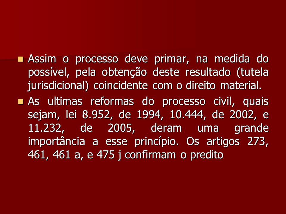  Assim o processo deve primar, na medida do possível, pela obtenção deste resultado (tutela jurisdicional) coincidente com o direito material.  As u