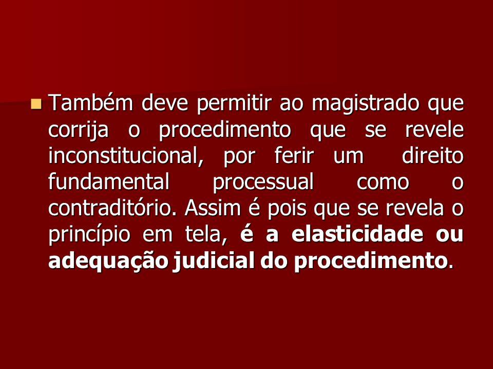  Também deve permitir ao magistrado que corrija o procedimento que se revele inconstitucional, por ferir um direito fundamental processual como o con