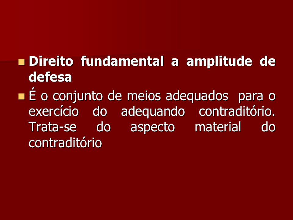  Direito fundamental a amplitude de defesa  É o conjunto de meios adequados para o exercício do adequando contraditório. Trata-se do aspecto materia