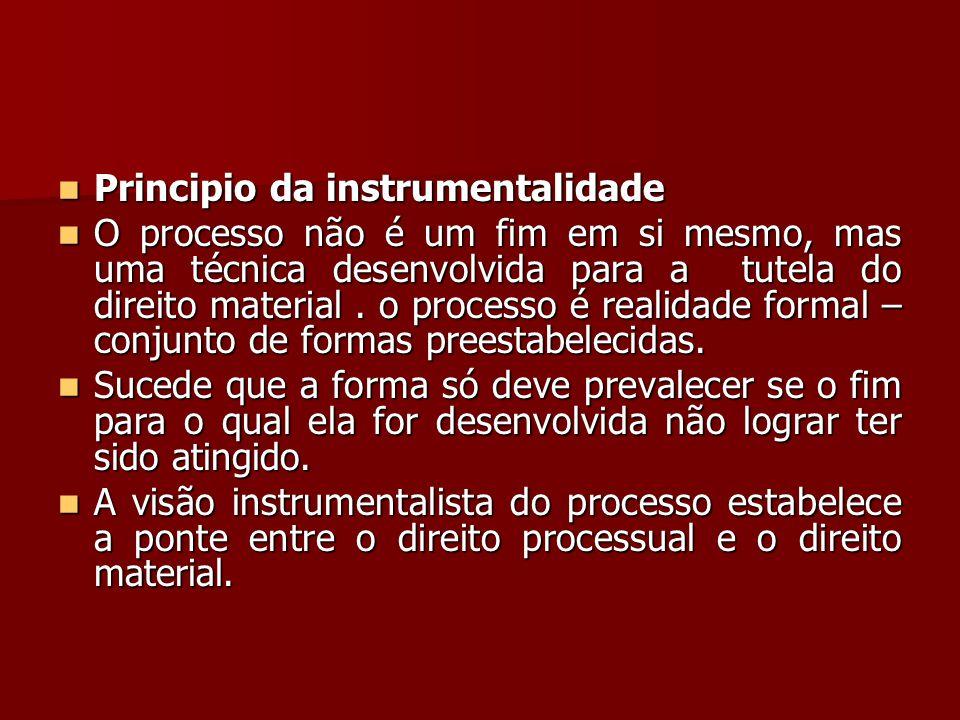  Principio da instrumentalidade  O processo não é um fim em si mesmo, mas uma técnica desenvolvida para a tutela do direito material. o processo é r