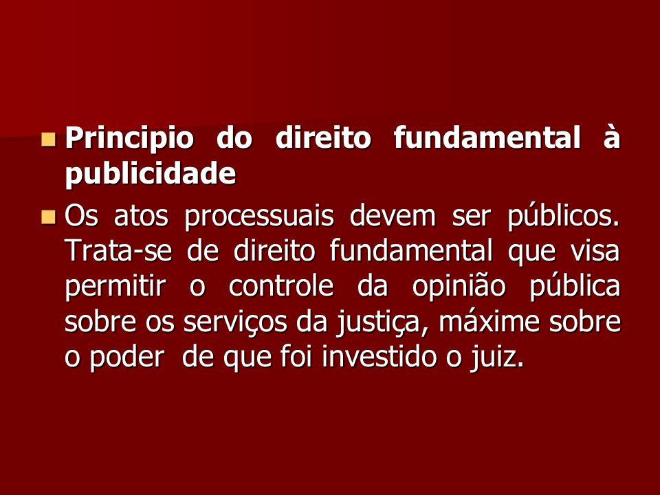  Principio do direito fundamental à publicidade  Os atos processuais devem ser públicos. Trata-se de direito fundamental que visa permitir o control
