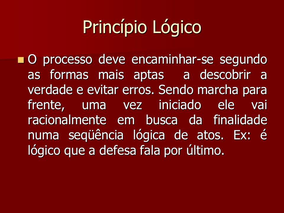 Princípio Lógico  O processo deve encaminhar-se segundo as formas mais aptas a descobrir a verdade e evitar erros. Sendo marcha para frente, uma vez