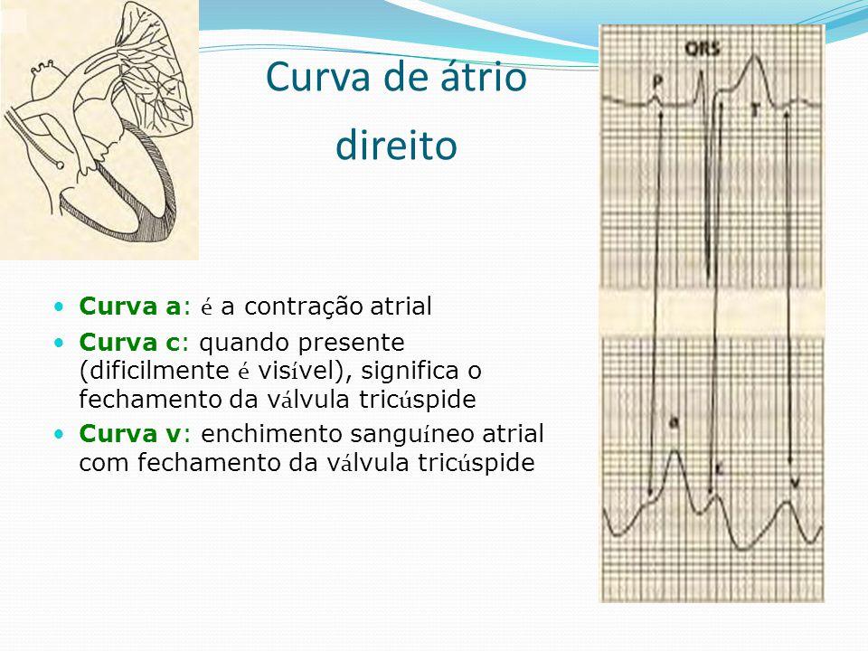 Curva de átrio direito  Curva a: é a contração atrial  Curva c: quando presente (dificilmente é vis í vel), significa o fechamento da v á lvula tric
