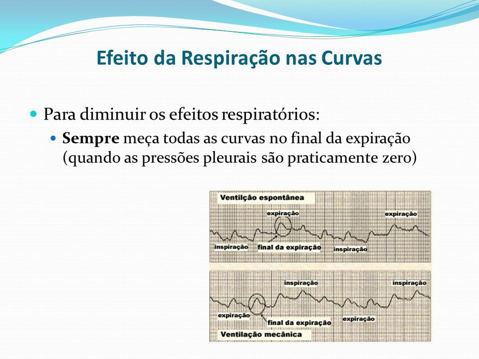 Para diminuir os efeitos respiratórios:  Sempre meça todas as curvas no final da expiração (quando as pressões pleurais são praticamente zero) Efei