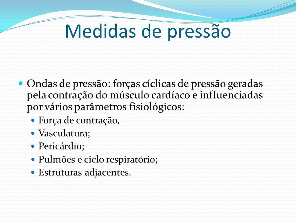 Medidas de pressão  Ondas de pressão: forças cíclicas de pressão geradas pela contração do músculo cardíaco e influenciadas por vários parâmetros fis