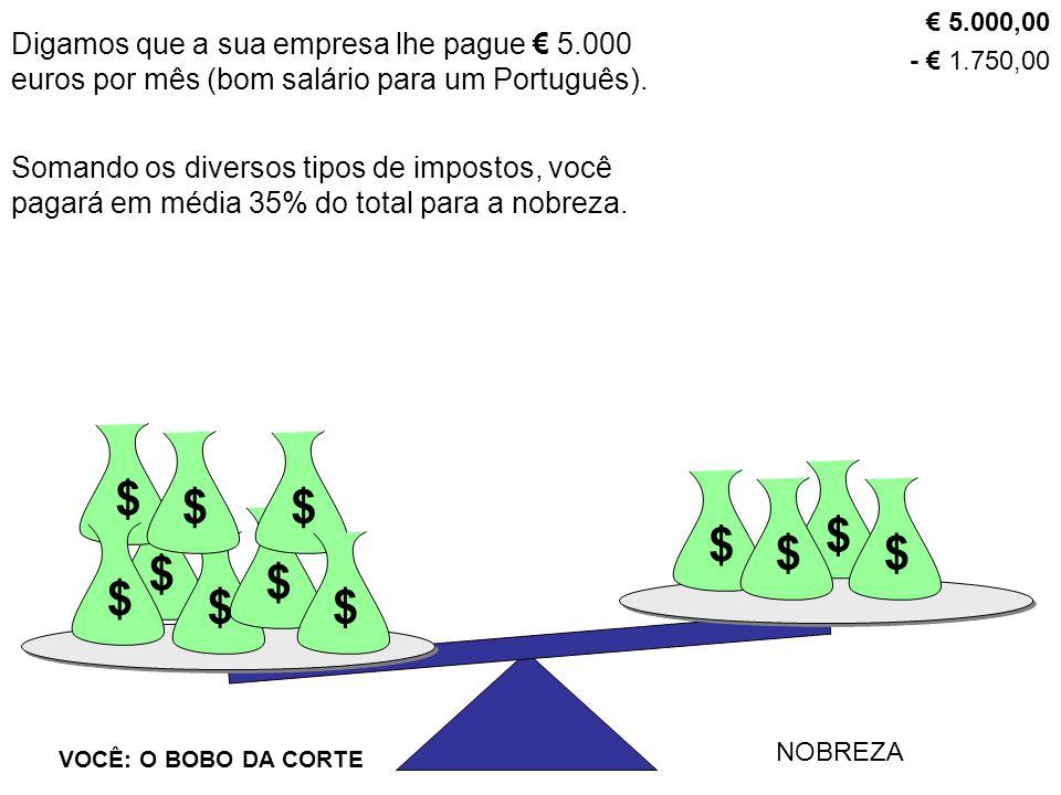 Digamos que a sua empresa lhe pague € 5.000 euros por mês (bom salário para um Português). $ VOCÊ: O BOBO DA CORTE NOBREZA $ $ $ $ $$$ $$ $ $ € 5.000,