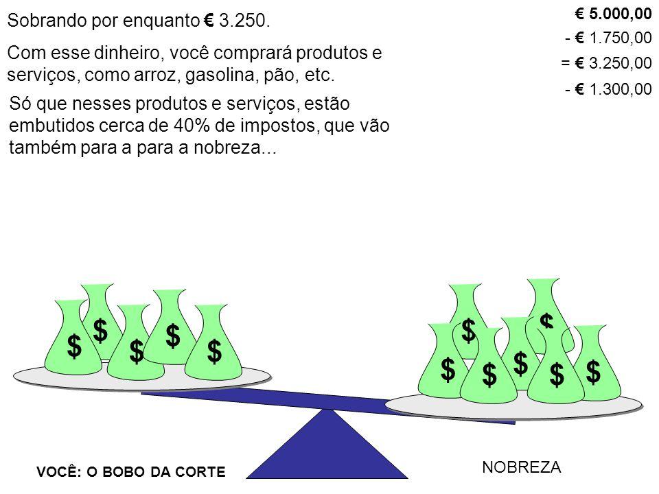 Sobrando por enquanto € 3.250. $ VOCÊ: O BOBO DA CORTE NOBREZA $ $ $ $ $ $ $ $$ $ $ Com esse dinheiro, você comprará produtos e serviços, como arroz,