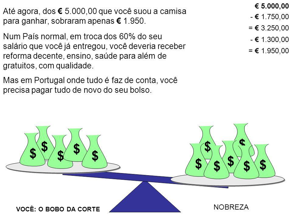 $ $ VOCÊ: O BOBO DA CORTE NOBREZA $ $ $ $ $ $ $$ $ $ Até agora, dos € 5.000,00 que você suou a camisa para ganhar, sobraram apenas € 1.950. € 5.000,00