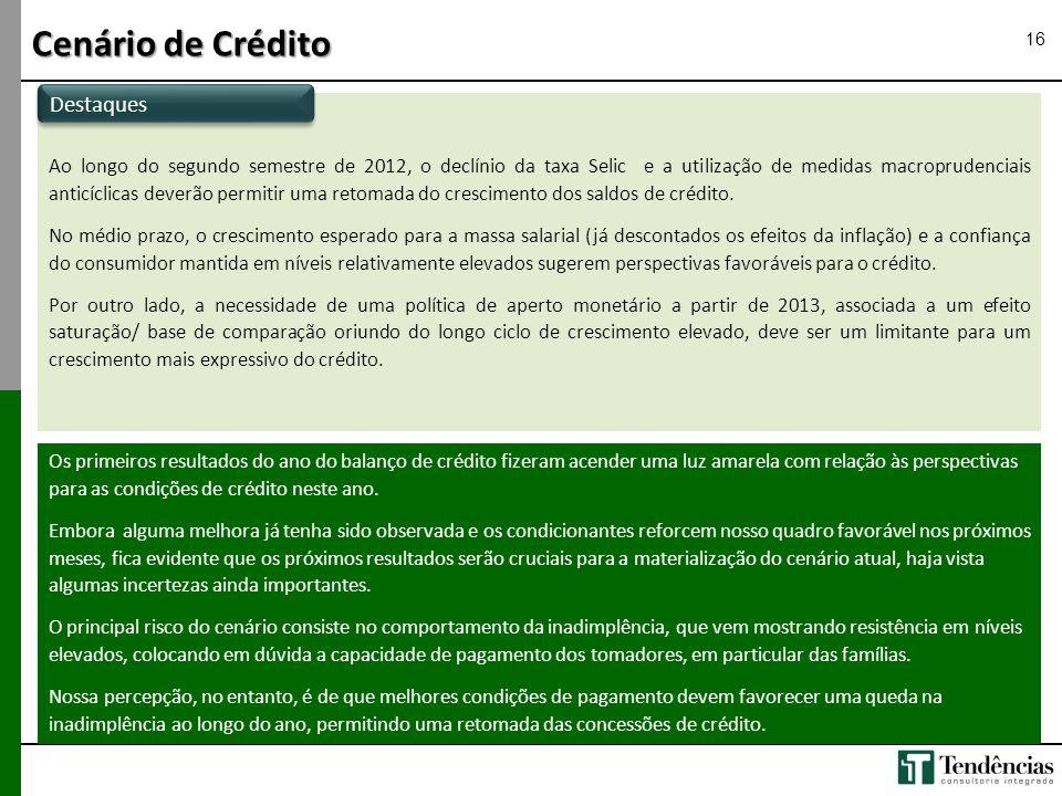 Ao longo do segundo semestre de 2012, o declínio da taxa Selic e a utilização de medidas macroprudenciais anticíclicas deverão permitir uma retomada d