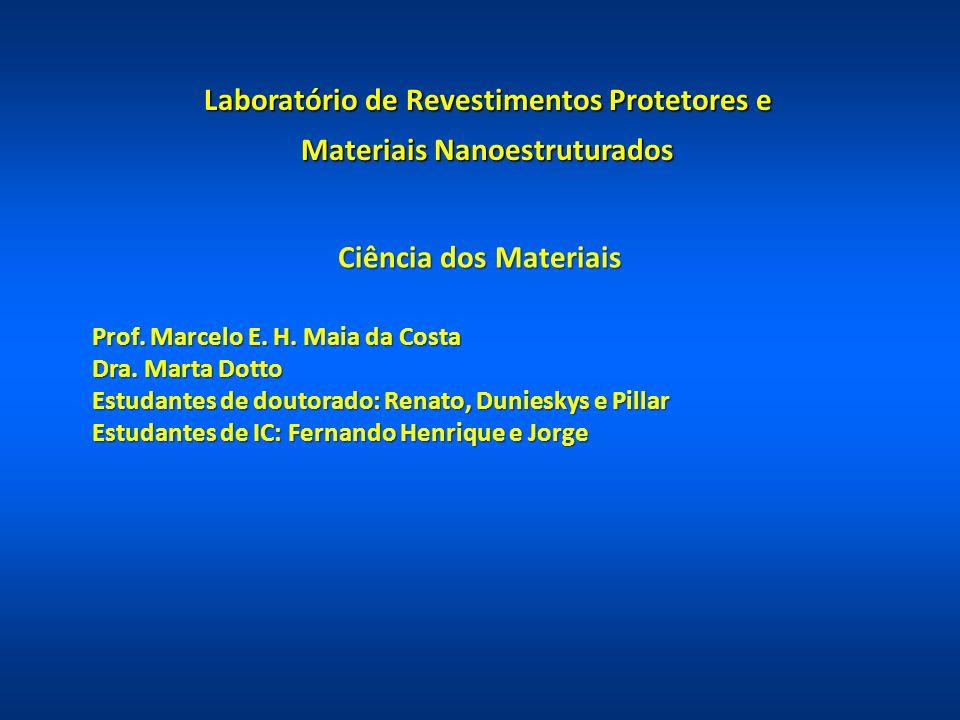 Ciência dos Materiais Prof. Marcelo E. H. Maia da Costa Dra. Marta Dotto Estudantes de doutorado: Renato, Dunieskys e Pillar Estudantes de IC: Fernand