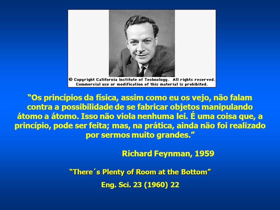 """""""Os princípios da física, assim como eu os vejo, não falam contra a possibilidade de se fabricar objetos manipulando átomo a átomo. Isso não viola nen"""