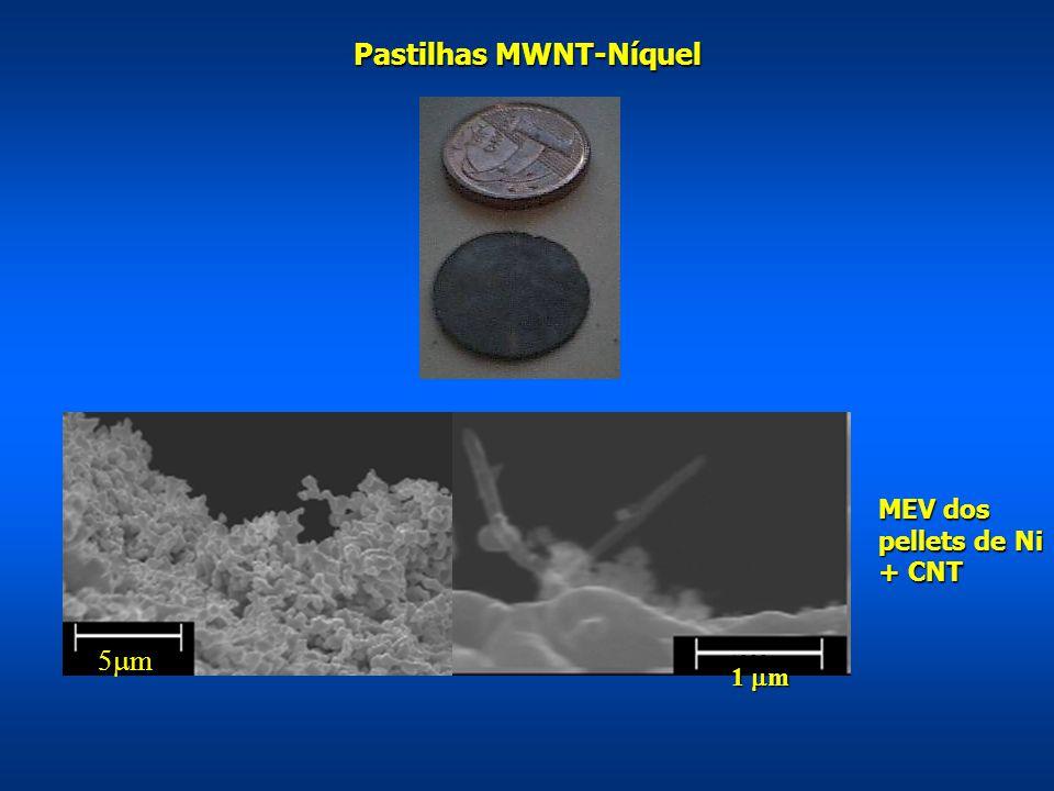 5000nm 1000nm MEV dos pellets de Ni + CNT 5m5m Pastilhas MWNT-Níquel 1  m