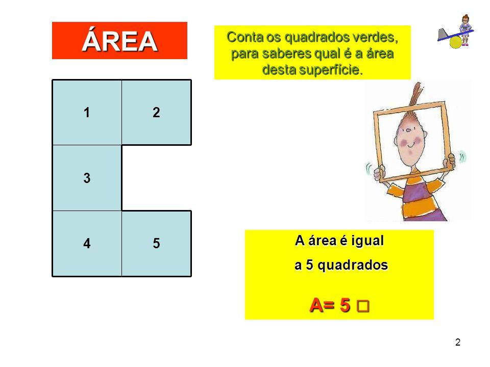 2 Conta os quadrados verdes, para saberes qual é a área desta superfície. ÁREA 12 3 45 A área é igual a 5 quadrados a 5 quadrados A= 5 □