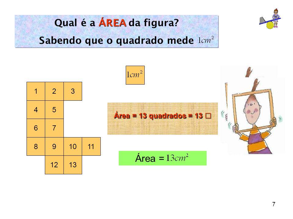 7 1 ÁREA Qual é a ÁREA da figura? Sabendo que o quadrado mede 2 45 3 67 891011 1213 Área = 13 quadrados = 13 □ Área =