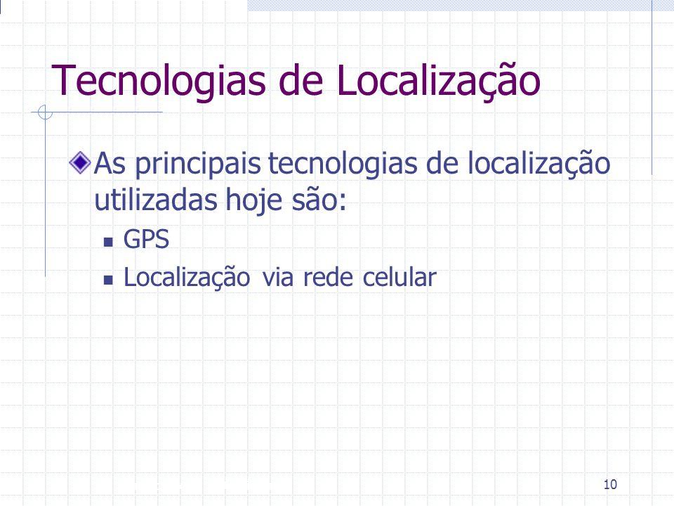 Introdução à Disciplina 10 Tecnologias de Localização As principais tecnologias de localização utilizadas hoje são:  GPS  Localização via rede celul