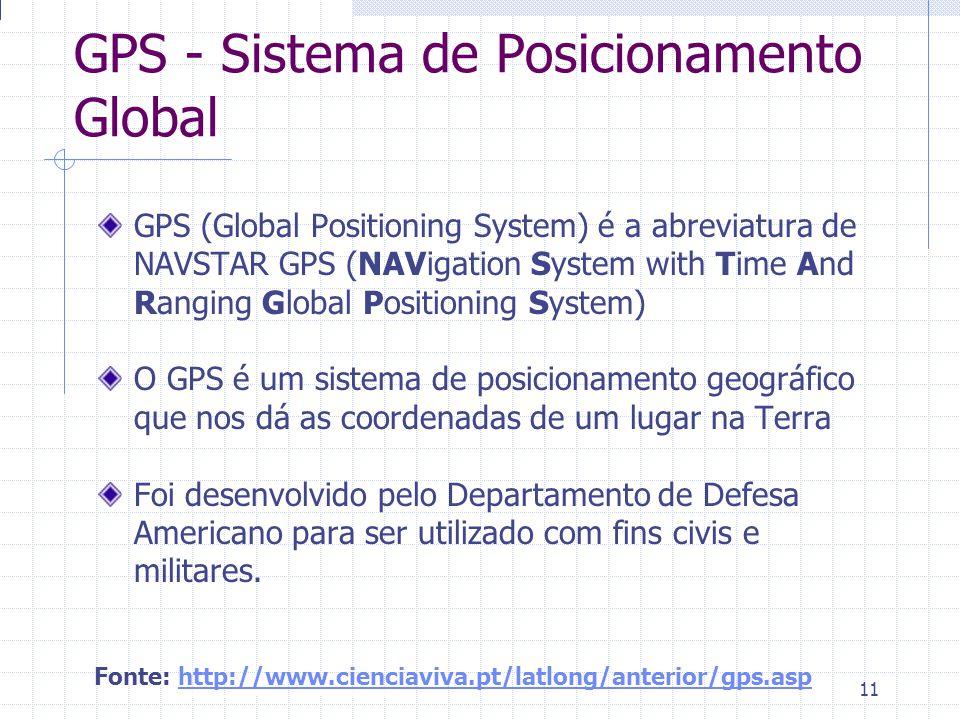 Introdução à Disciplina 11 GPS - Sistema de Posicionamento Global GPS (Global Positioning System) é a abreviatura de NAVSTAR GPS (NAVigation System wi