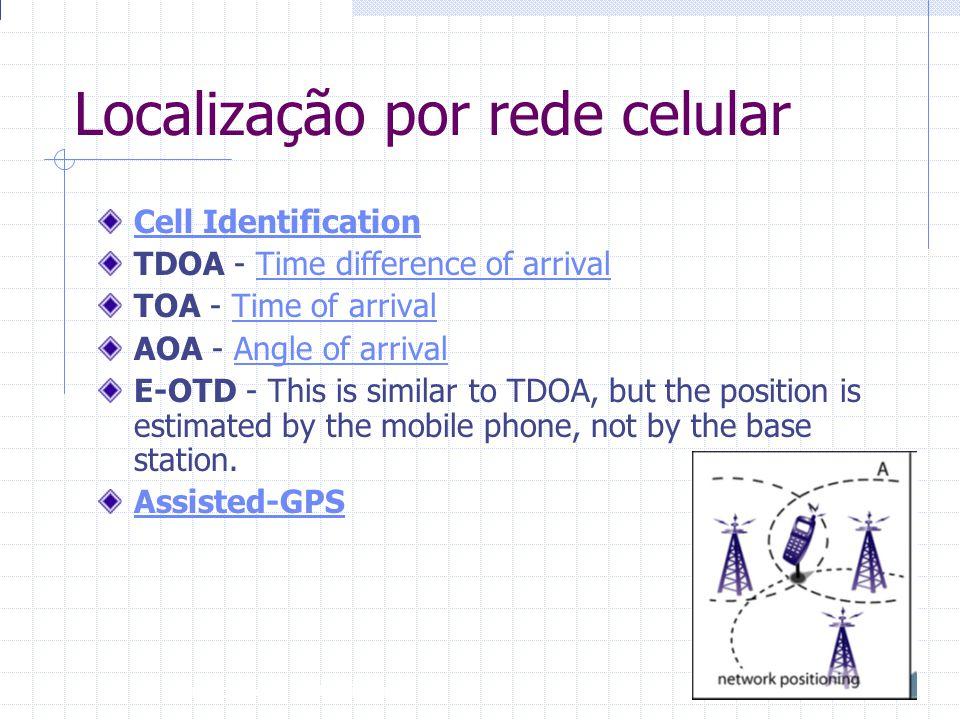 Introdução à Disciplina 15 Localização por rede celular Cell Identification TDOA - Time difference of arrival Time difference of arrival TOA - Time of