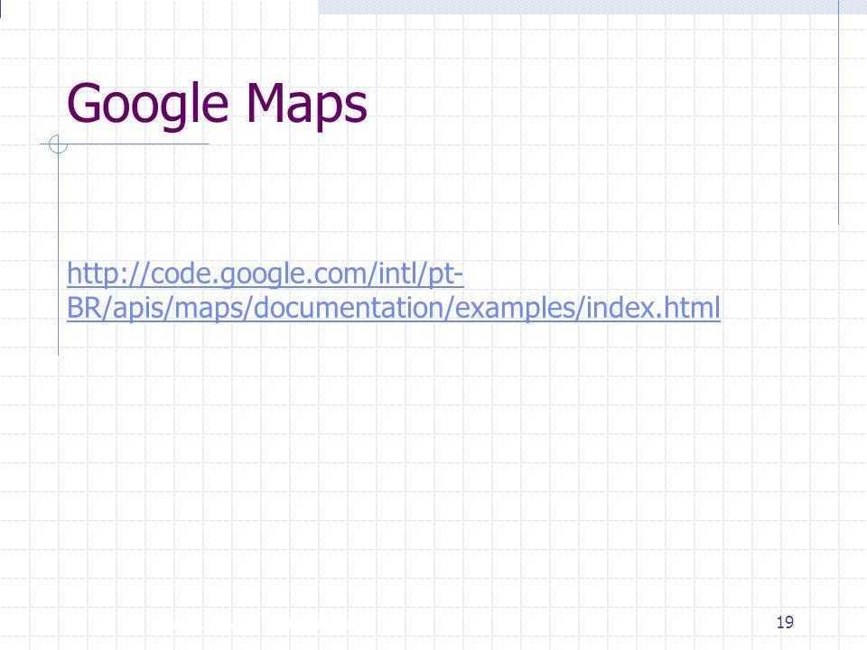 Introdução à Disciplina 19 Google Maps http://code.google.com/intl/pt- BR/apis/maps/documentation/examples/index.html