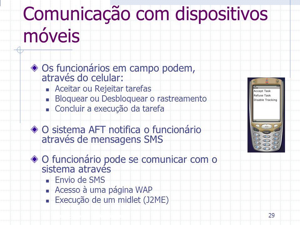Introdução à Disciplina 29 Comunicação com dispositivos móveis Os funcionários em campo podem, através do celular:  Aceitar ou Rejeitar tarefas  Blo