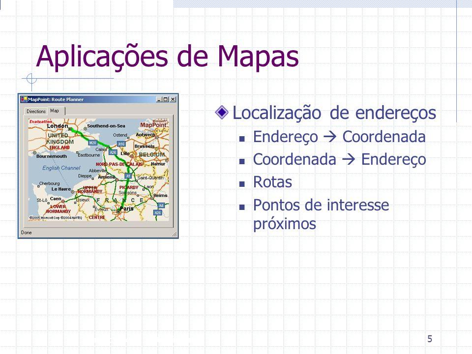 Introdução à Disciplina 5 Aplicações de Mapas Localização de endereços  Endereço  Coordenada  Coordenada  Endereço  Rotas  Pontos de interesse p