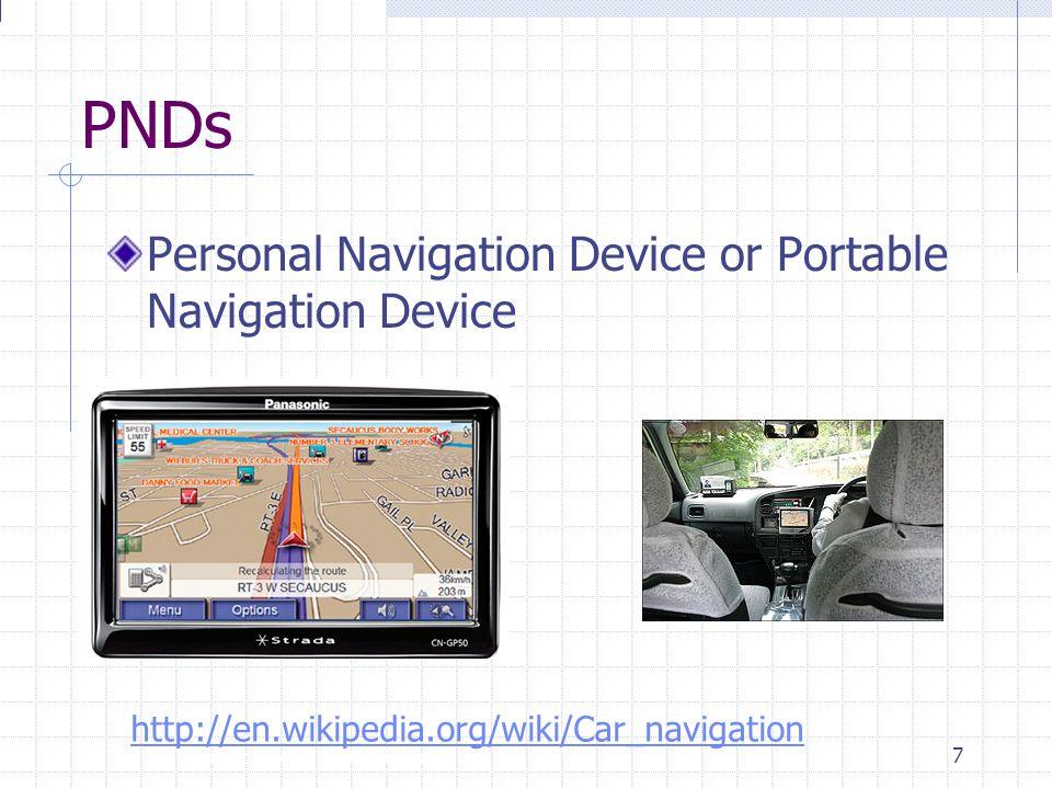 Introdução à Disciplina 7 PNDs Personal Navigation Device or Portable Navigation Device http://en.wikipedia.org/wiki/Car_navigation