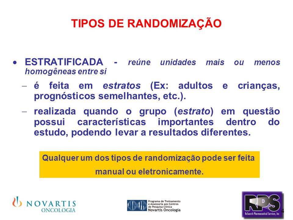 4 TIPOS DE RANDOMIZAÇÃO  ESTRATIFICADA - reúne unidades mais ou menos homogêneas entre si  é feita em estratos (Ex: adultos e crianças, prognósticos