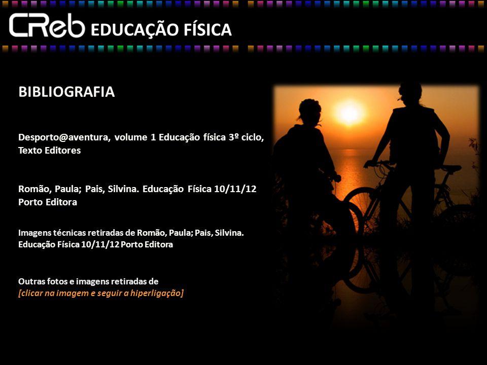 BIBLIOGRAFIA Desporto@aventura, volume 1 Educação física 3º ciclo, Texto Editores Romão, Paula; Pais, Silvina.