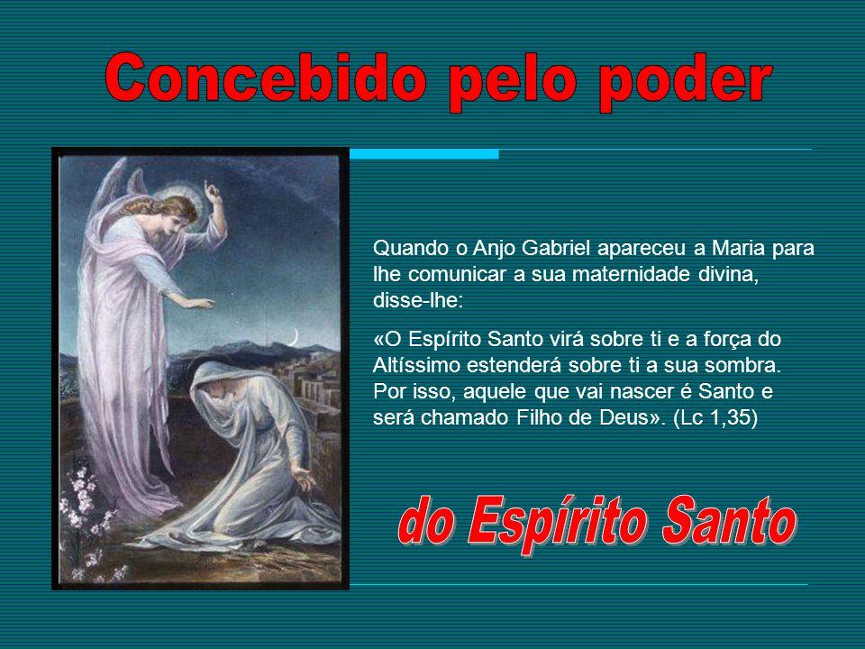 Quando o Anjo Gabriel apareceu a Maria para lhe comunicar a sua maternidade divina, disse-lhe: «O Espírito Santo virá sobre ti e a força do Altíssimo