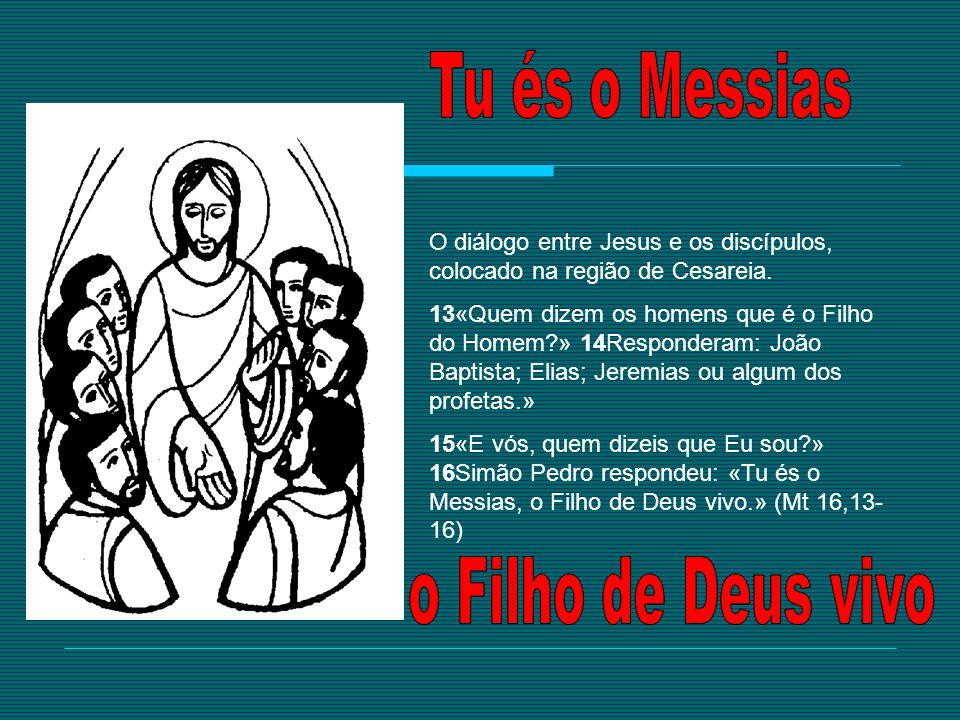 O diálogo entre Jesus e os discípulos, colocado na região de Cesareia. 13«Quem dizem os homens que é o Filho do Homem?» 14Responderam: João Baptista;