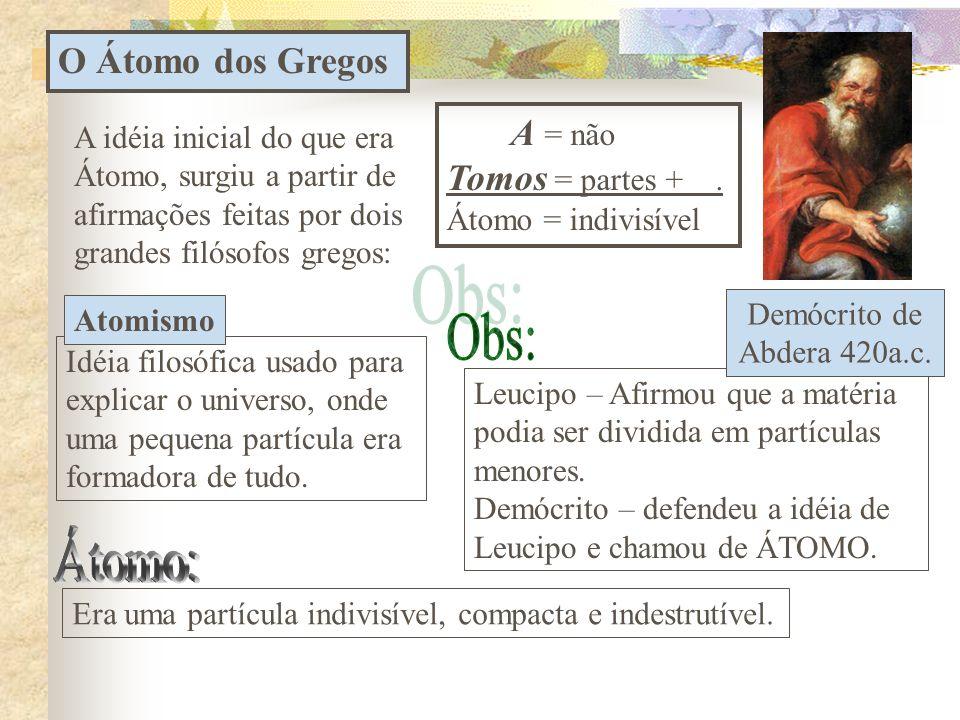 Atomística (I parte): O estudo histórico do átomo Histórico do Átomo:  Modelo dos gregos - Atomismo;  Modelo de 1808 - Dalton  Modelo de 1898 – Tho