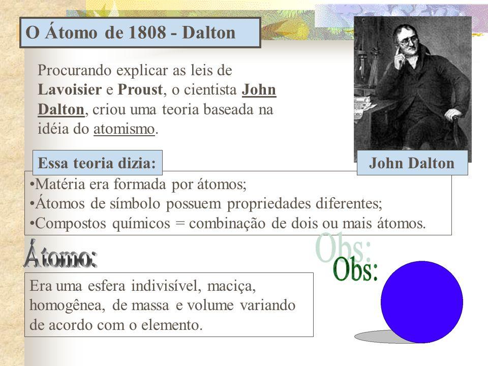 O Átomo de 1808 - Dalton •Matéria era formada por átomos; •Átomos de símbolo possuem propriedades diferentes; •Compostos químicos = combinação de dois ou mais átomos.