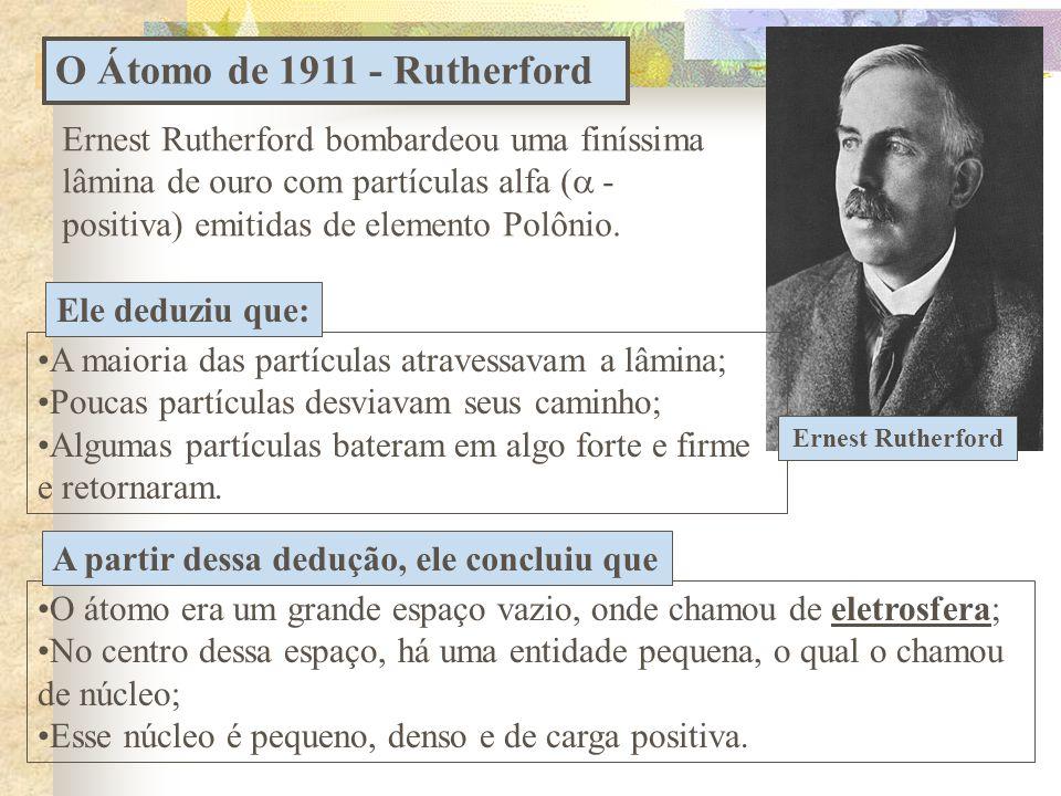 O Átomo de 1911 - Rutherford Ernest Rutherford bombardeou uma finíssima lâmina de ouro com partículas alfa (  - positiva) emitidas de elemento Polônio.