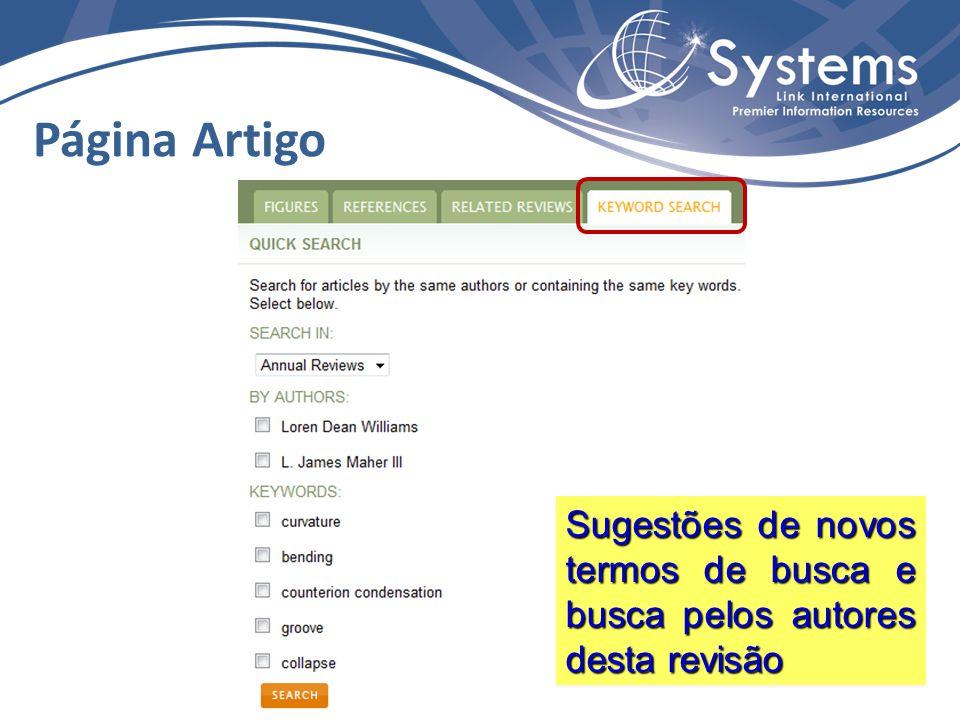 Página Artigo Sugestões de novos termos de busca e busca pelos autores desta revisão