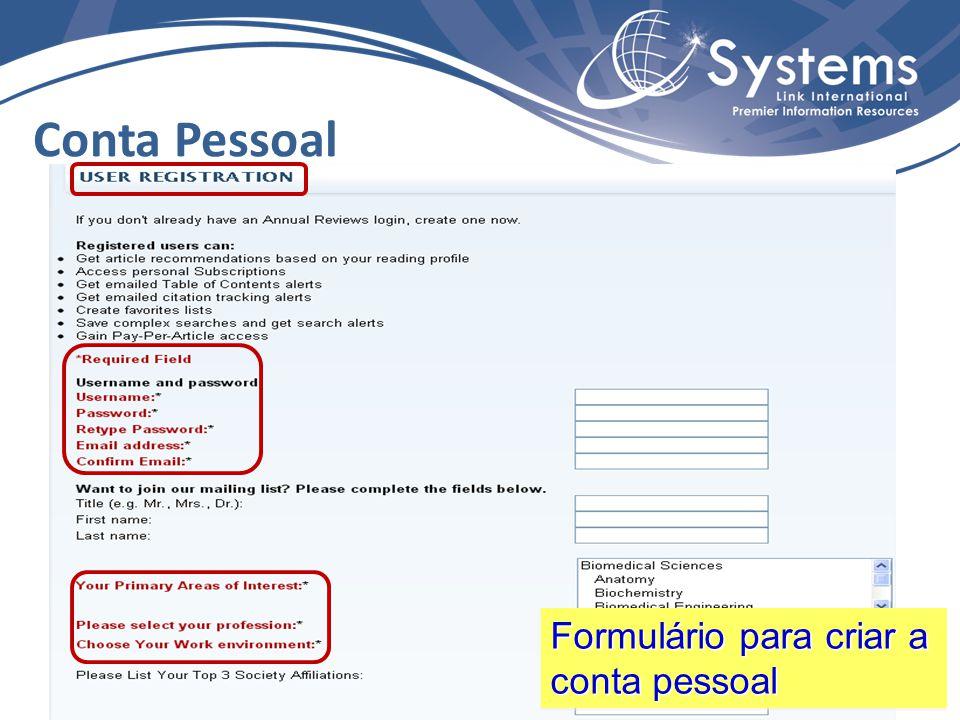 Conta Pessoal Formulário para criar a conta pessoal