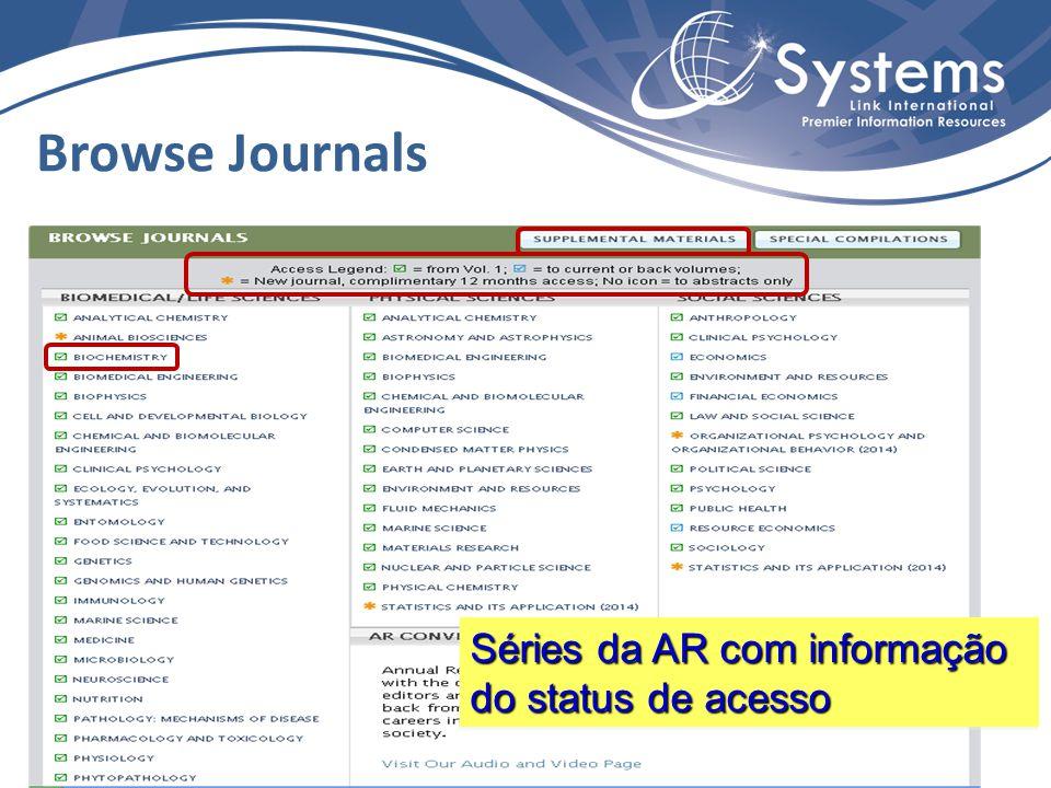 Browse Journals Séries da AR com informação do status de acesso