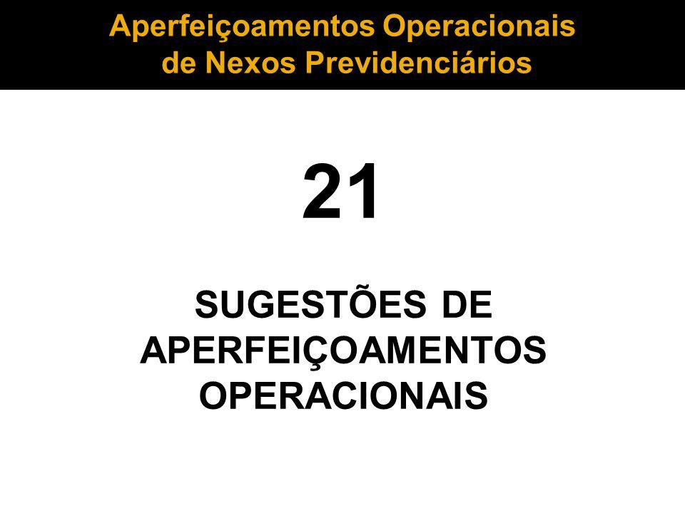 21 SUGESTÕES DE APERFEIÇOAMENTOS OPERACIONAIS Aperfeiçoamentos Operacionais de Nexos Previdenciários de Nexos Previdenciários