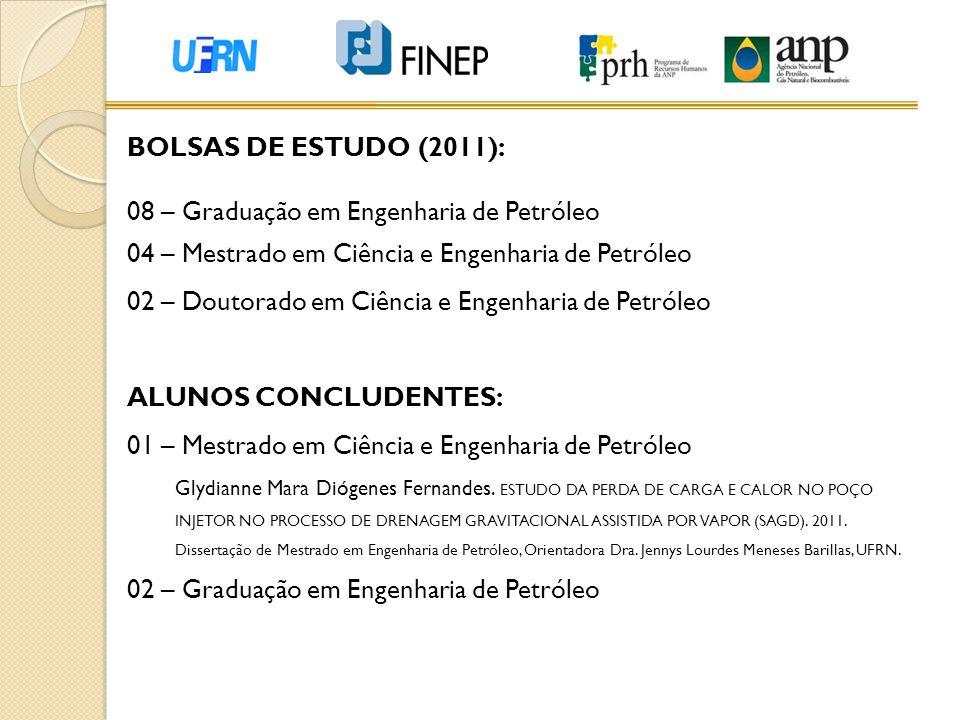 BOLSAS DE ESTUDO (2011): 08 – Graduação em Engenharia de Petróleo 04 – Mestrado em Ciência e Engenharia de Petróleo 02 – Doutorado em Ciência e Engenh