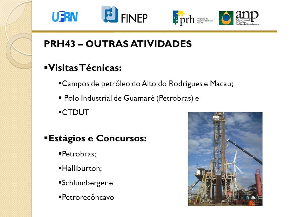 PRH43 – OUTRAS ATIVIDADES  Visitas Técnicas:  Campos de petróleo do Alto do Rodrigues e Macau;  Pólo Industrial de Guamaré (Petrobras) e  CTDUT 