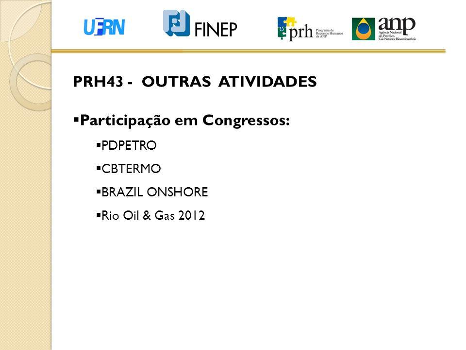 PRH43 - OUTRAS ATIVIDADES  Participação em Congressos:  PDPETRO  CBTERMO  BRAZIL ONSHORE  Rio Oil & Gas 2012