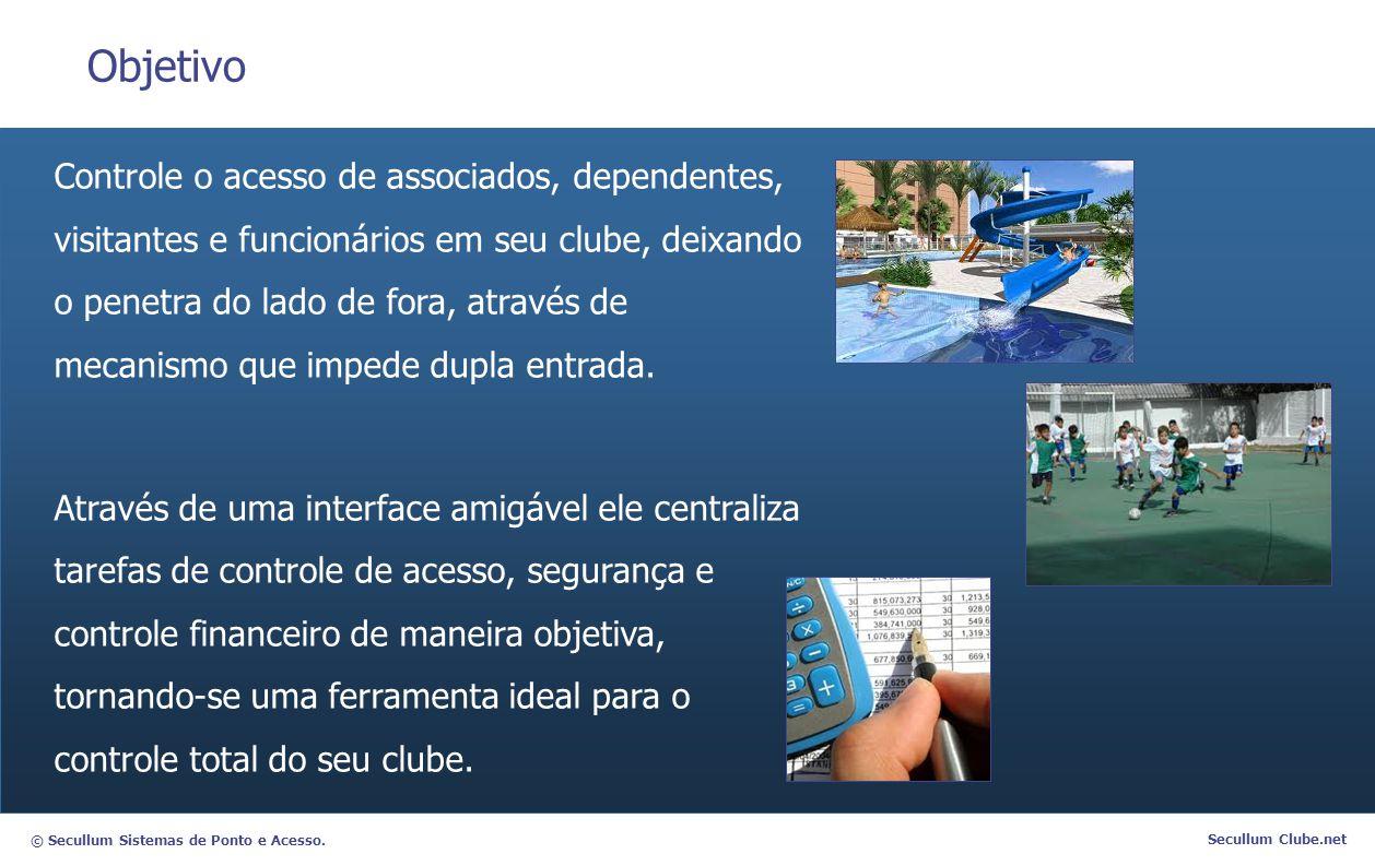 © Secullum Sistemas de Ponto e Acesso. Secullum Clube.net Objetivo Controle o acesso de associados, dependentes, visitantes e funcionários em seu club