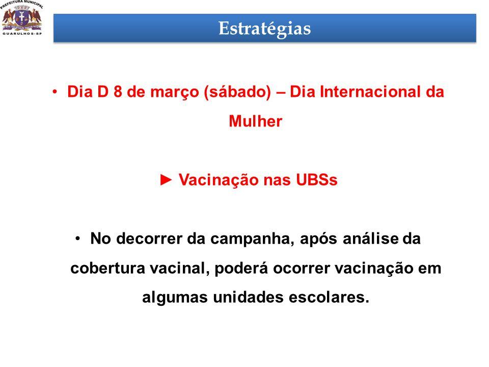 Estratégias •Dia D 8 de março (sábado) – Dia Internacional da Mulher ► Vacinação nas UBSs •No decorrer da campanha, após análise da cobertura vacinal,